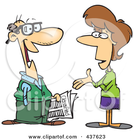 A man and a woman talking clipart. Royalty free rf illustration