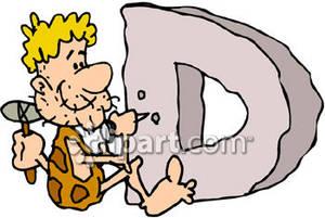 A man craving a d clipart. Stone letter clipartfox caveman