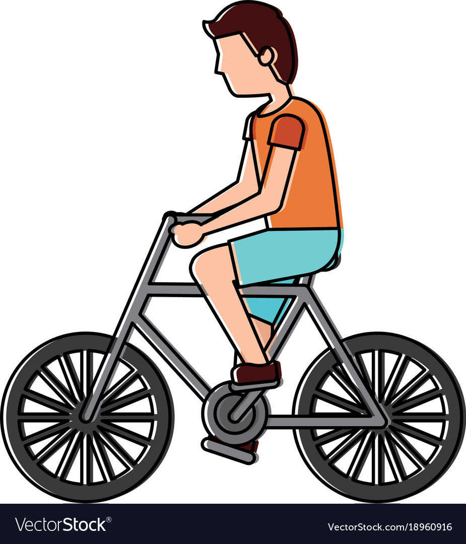 A man driving bike clipart clip art transparent stock Character young man riding bicycle side view clip art transparent stock