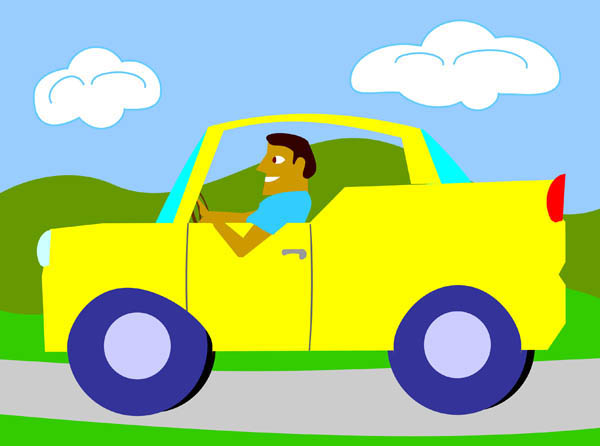 Walking and driving car clipart