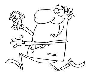 A man work at office clipart for coloring image transparent library Coloring Pages Clipart Image - Greedy Man Running to the Bank with a ... image transparent library