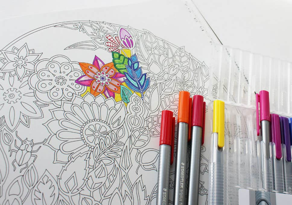 A man work at office clipart for coloring banner black and white library 12 best colouring books for adults | The Independent banner black and white library