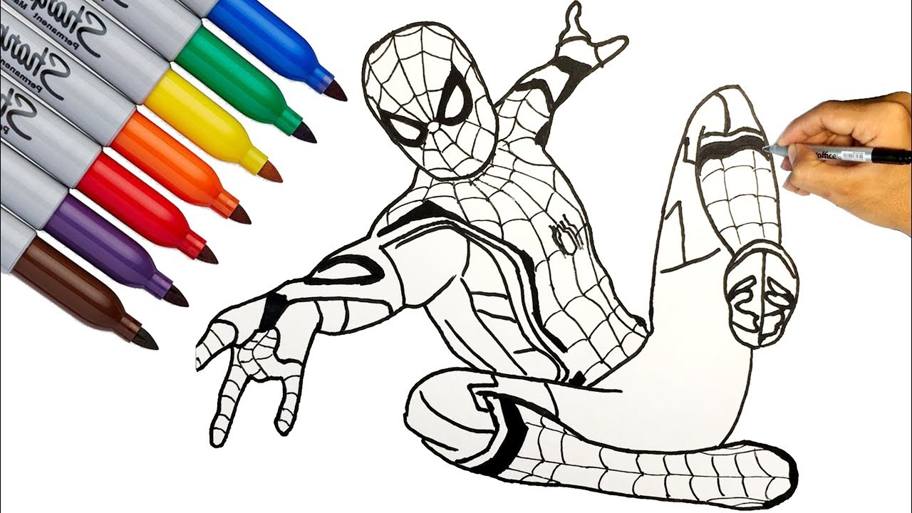 A man work at office clipart for coloring download SPIDER-MAN / Spider-Man Far From Home Coloring Pages / How to Draw  Spider-Man download