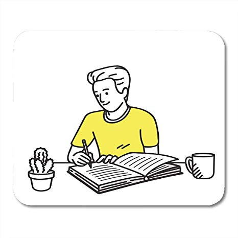 A man work at office clipart for coloring clip freeuse stock Amazon.com : Mouse Pads Happy and Smiling Young Man Writing Diary on ... clip freeuse stock