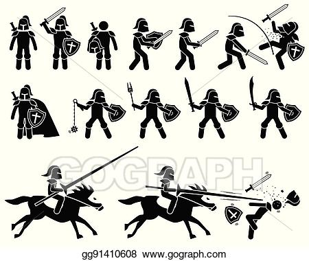 Warror with sword killing clipart graphic black and white stock Vector Art - Knight templar from medieval and middle ages war ... graphic black and white stock