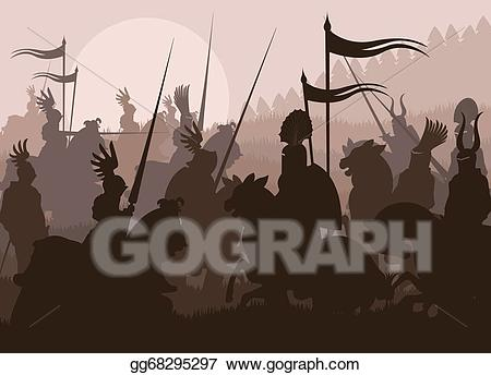 A medieval battle clipart jpg stock Vector Art - Medieval knights in battle vector background. Clipart ... jpg stock