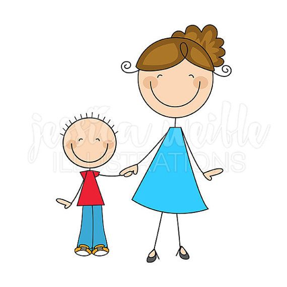 Clipart of a mom jpg free library Mom and Son Stick Figures Cute Digital Clipart - Commercial Use OK ... jpg free library