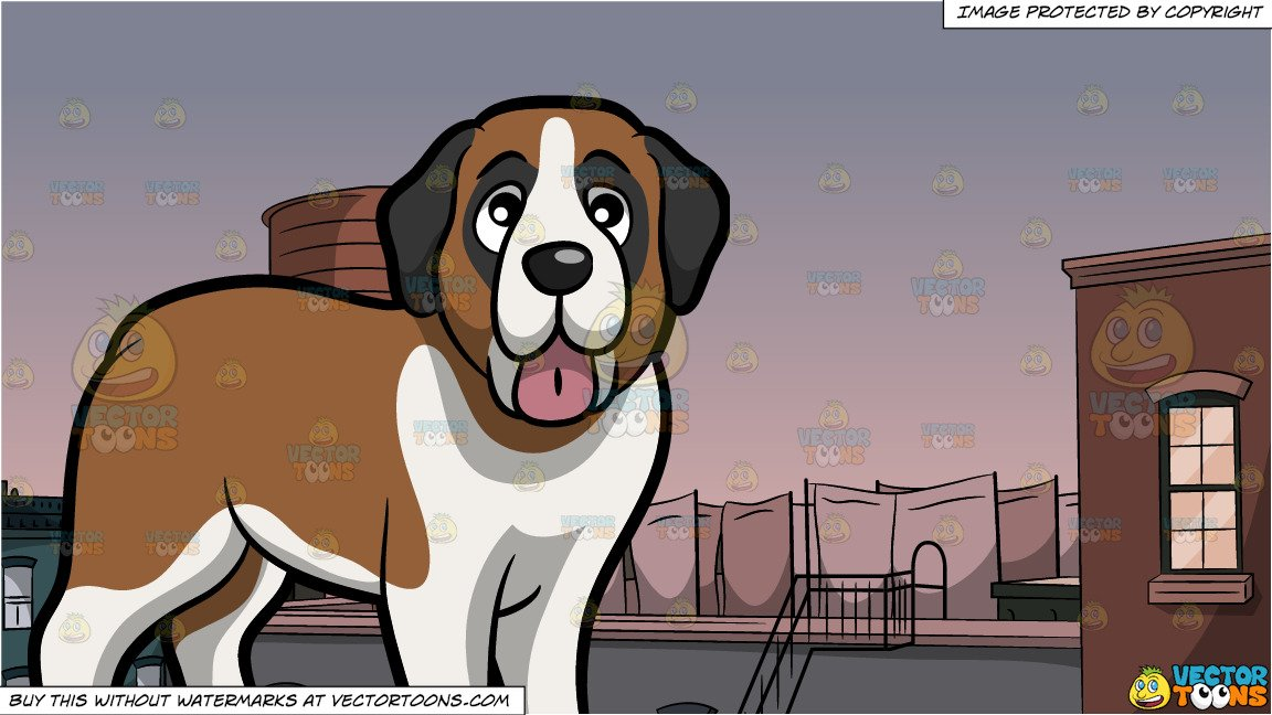 A mountain with a water tower on it clipart banner transparent stock A Happy Young St Bernard Dog and Water Tower On Roof Background banner transparent stock
