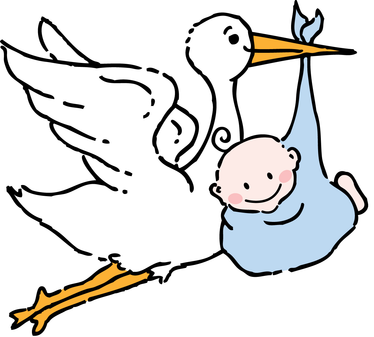 Pink stork with brown baby clipart