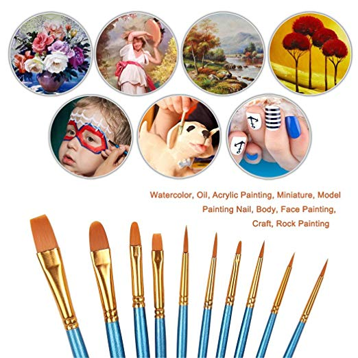 A paintbrush thats loose clipart library Xubox Pointed-Round Paintbrush Set, 10 Pieces Round Pointed Tip Nylon Hair  Artist Detail Paint Brushes Set for Fine Detailing & Art Painting, Acrylic  ... library