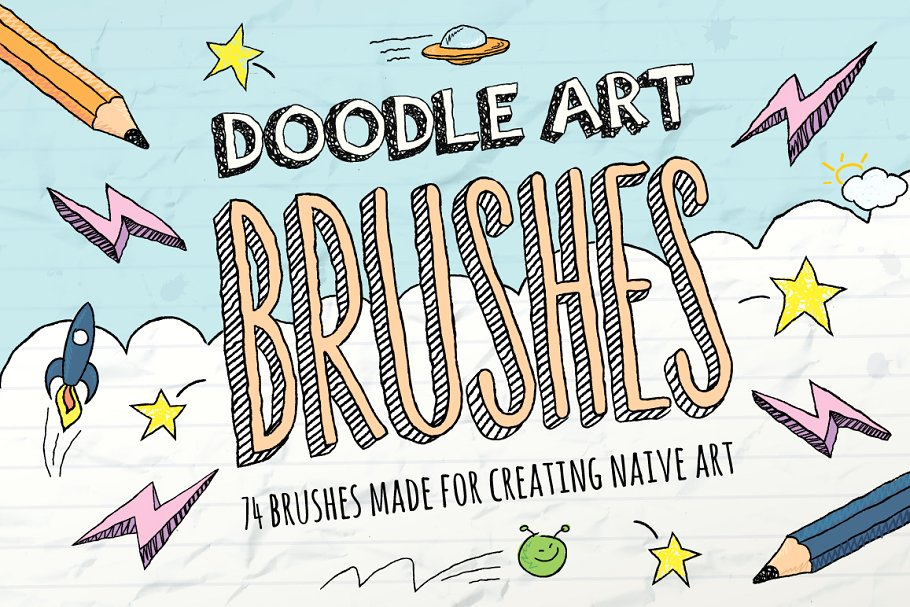 A paintbrush thats loose clipart banner transparent stock Doodle Brushes ~ Illustrator Add-Ons ~ Creative Market banner transparent stock