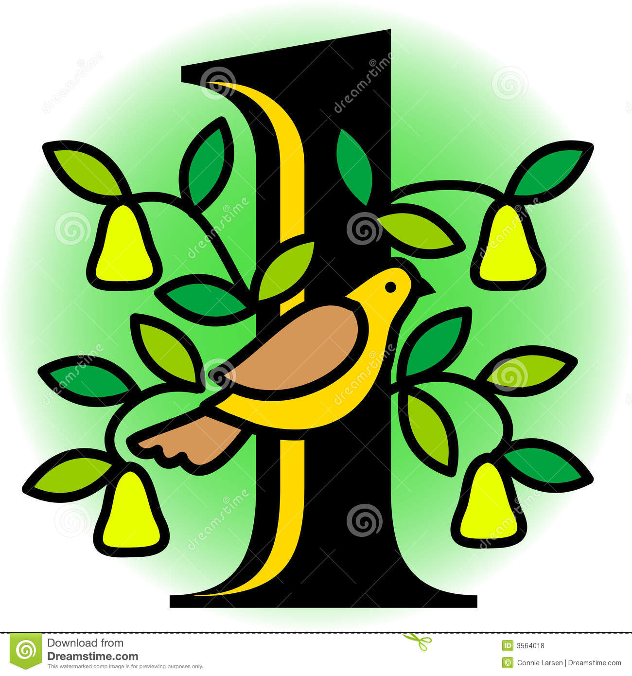 A partridge in a pear tree clipart