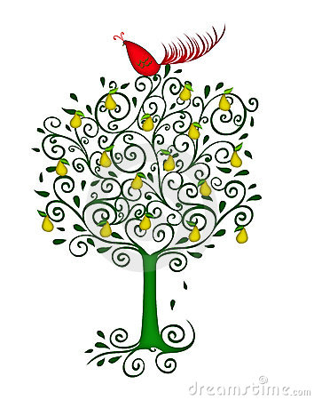 A partridge in a pear tree clipart jpg royalty free Partridge In A Pear Tree/eps Royalty Free Stock Photos - Image ... jpg royalty free