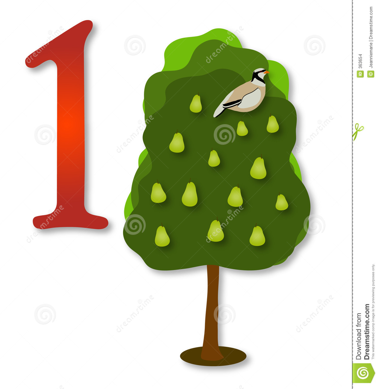 A partridge in a pear tree clipart freeuse stock 12 Days Of Christmas: 1 Partrige In A Pear Tree Stock Images ... freeuse stock