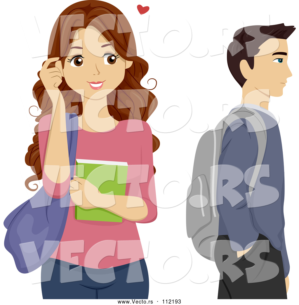 A person crushing on a person clipart banner transparent stock Vector of Brunette High School Teen Girl Crushing on a Male ... banner transparent stock