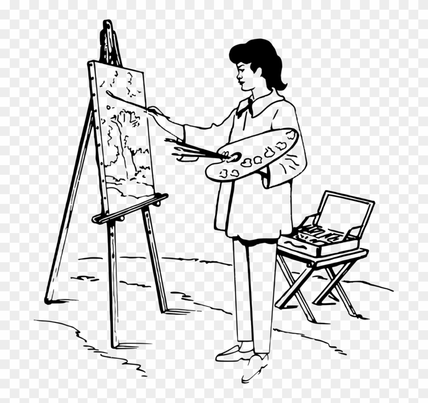 Clipart person drawing jpg free library Painting Easel Black And White Drawing Art - Drawing Of A Person ... jpg free library