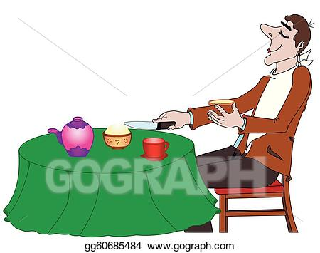 A person eating food clipart png black and white download Vector Stock - The person taking food. Clipart Illustration ... png black and white download
