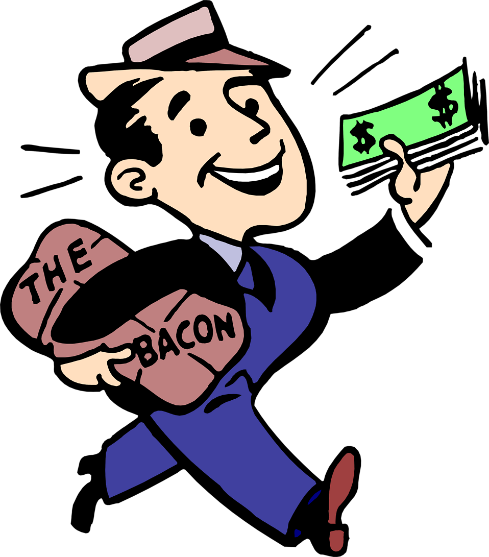 Clipart money illustrations clip library Bacon | Free Stock Photo | Illustration of a man with cash and bacon ... clip library