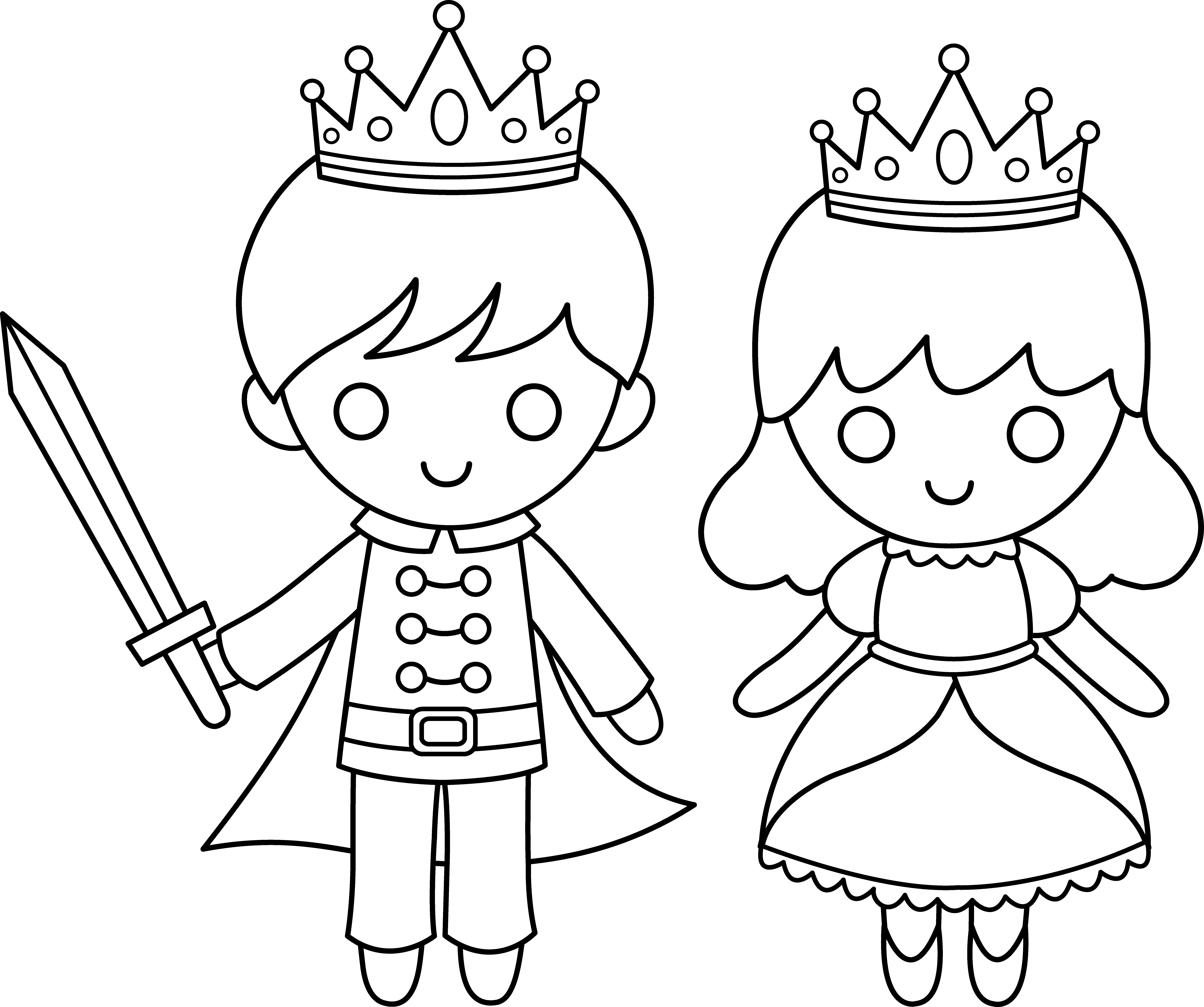 A prince clipart balck and white image transparent library Prince and Princess Line Art   DRAWING   Princess coloring pages ... image transparent library