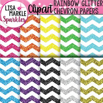 A rainbow that says stand out clipart clipart royalty free stock Chevron Digital Paper Clipart with Glitter   Lisa Markle Sparkles ... clipart royalty free stock