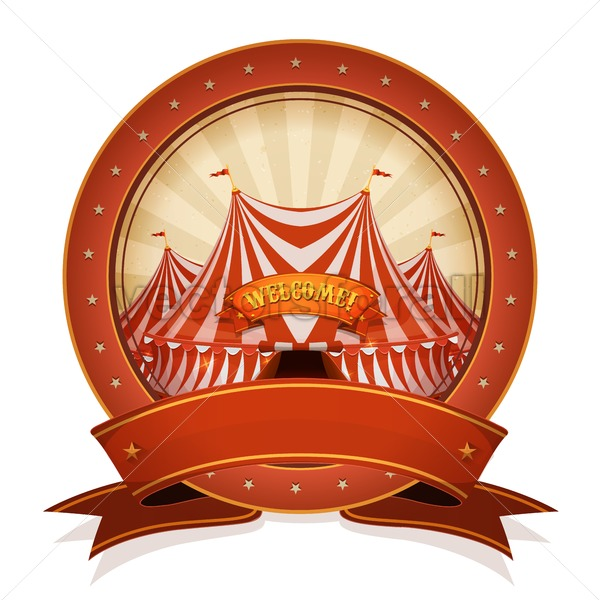A red superhero girl fighting a blob monster clipart png transparent stock Vintage Circus Badge And Ribbon With Big Top png transparent stock
