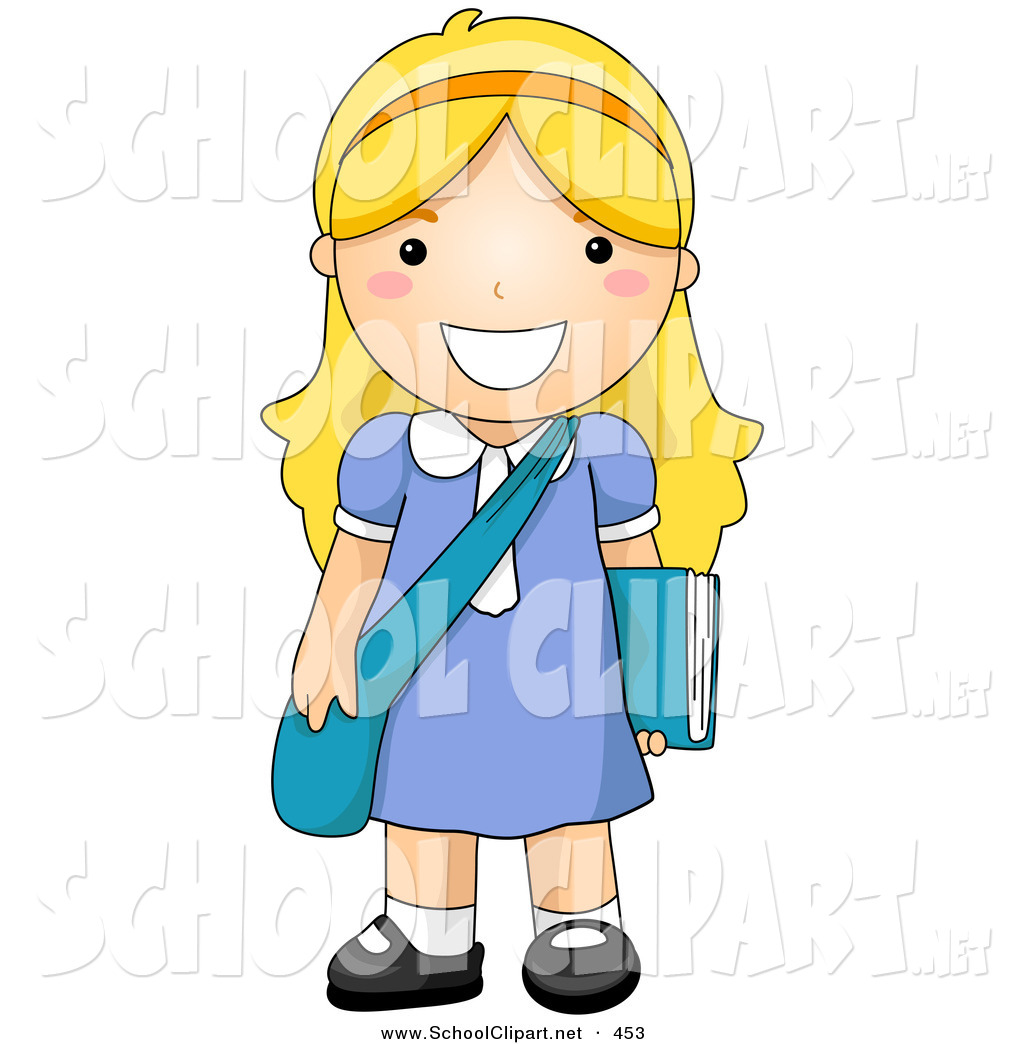 A school girl clipart clip art library library Clip Art of a Blond School Girl Standing with Her Shoulder Bag and ... clip art library library