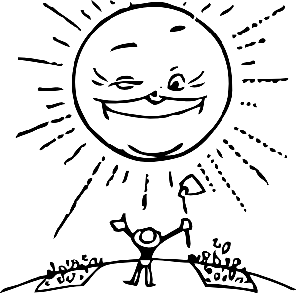 A smiling sun black and white clipart image download Sun And Farmer Clip Art at Clker.com - vector clip art online ... image download