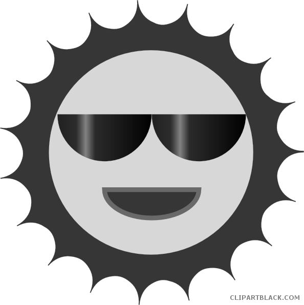 A smiling sun black and white clipart svg library library Smiling Sun with Sunglasses Clipart - ClipartBlack.com svg library library