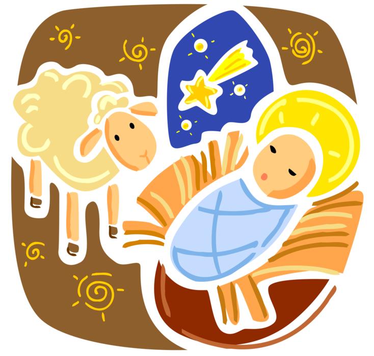A star is born clipart image freeuse stock Baby Jesus Born in Manger on Christmas - Vector Image image freeuse stock