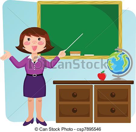 A teacher in a classroom with a skirt on clipart clip free download Clip Art Vector of teacher in the classroom - teacher standing in ... clip free download