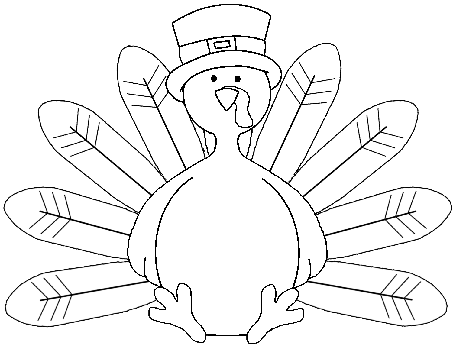 Turkey feathers clipart black & white image freeuse download 28+ Collection of Large Thanksgiving Turkey Clipart | High quality ... image freeuse download