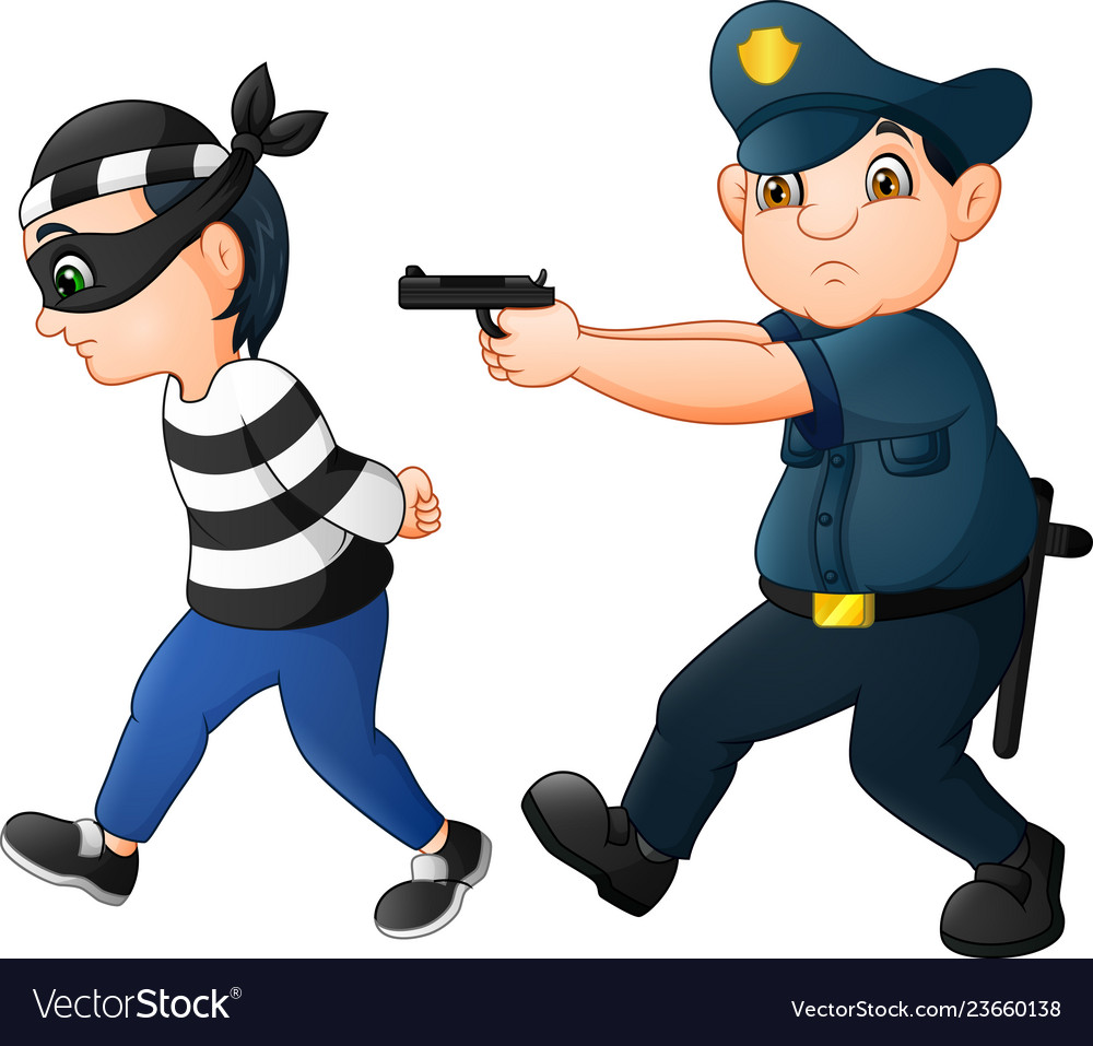 A thief clipart free stock Policeman tries to chase a thief vector image free stock
