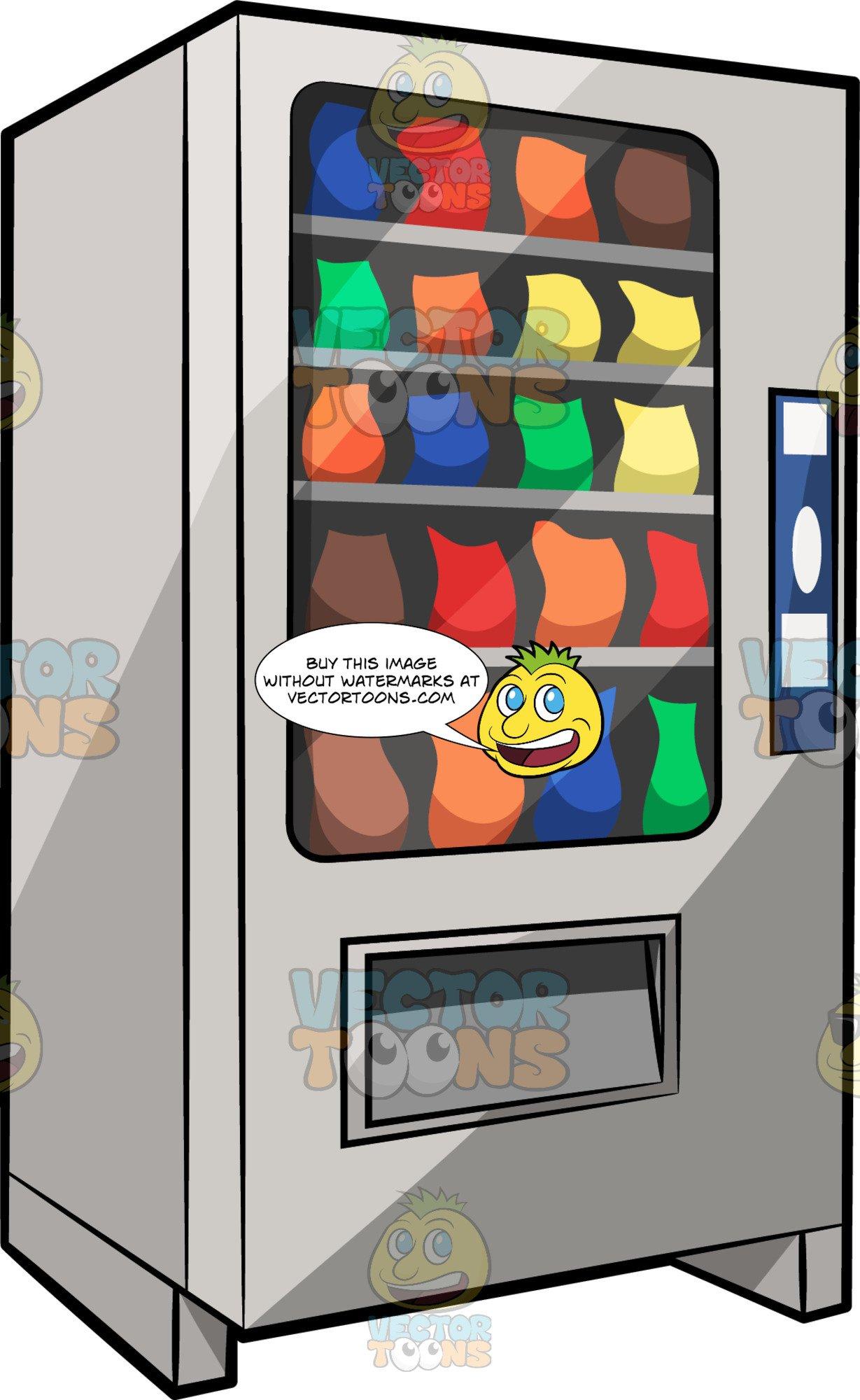 A vending machine clipart banner stock A Traditional Snack Vending Machine banner stock