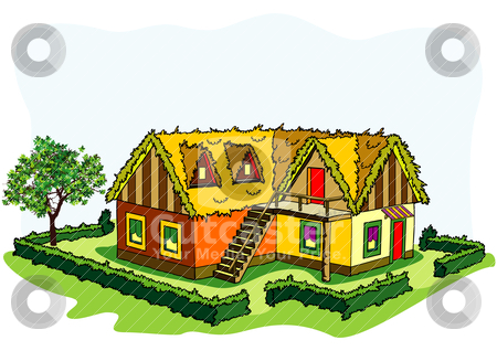 A village house clipart clipart black and white stock Village house stock vector clipart black and white stock