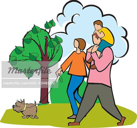 A walk in the park clipart svg royalty free library Couple walking in a park with their son and a dog - Stock Photo ... svg royalty free library