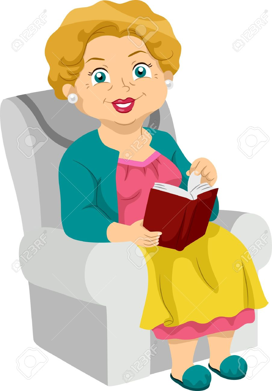 A woman reading a book clipart jpg library Illustration Featuring An Elderly Woman Reading A Book Stock Photo ... jpg library