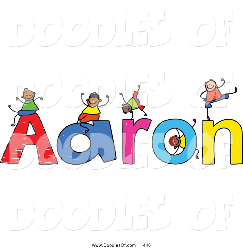 Aaron clipart library Vector Clipart of a Childs Sketch of Happy Boys Playing on the Name ... library