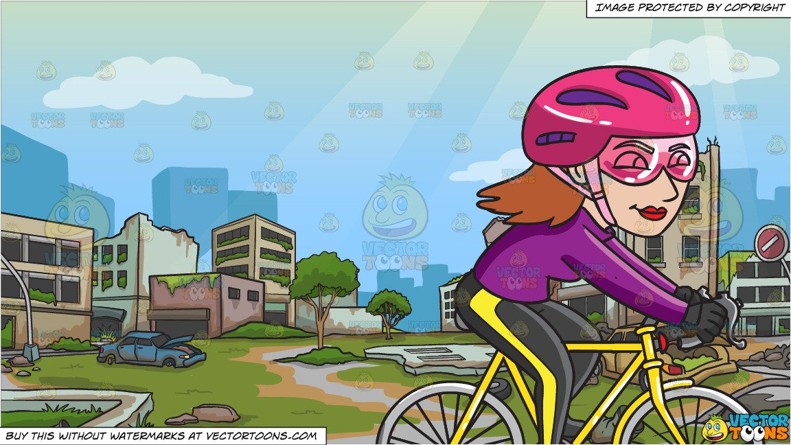 Abandoned road clipart png freeuse download A Woman Biking Down The Road and An Abandoned City Background png freeuse download