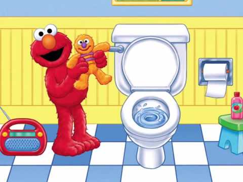 Potty Time With Elmo clip black and white stock