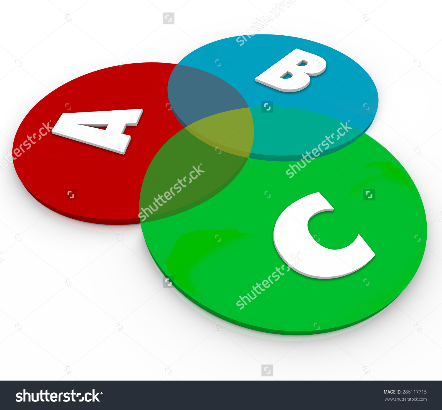 Abc Letters On Venn Diagram Overlapping Stock Illustration ... graphic royalty free stock