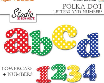 Abc and number clipart jpg library library polka dot number – Etsy jpg library library