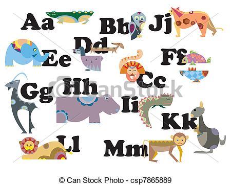 Abc animal clipart. Vector illustrations clip art