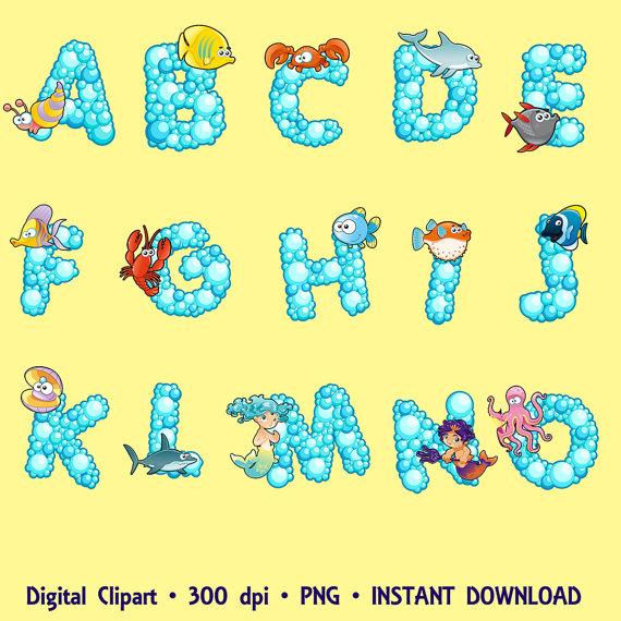 Alphabet digital fonts images. Abc animal clipart