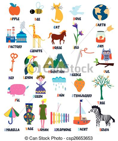 Vector of for kids. Abc animal clipart