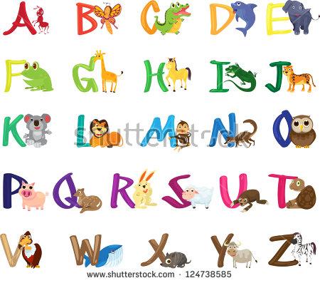 Abc animal clipart. Illustration set stock vector