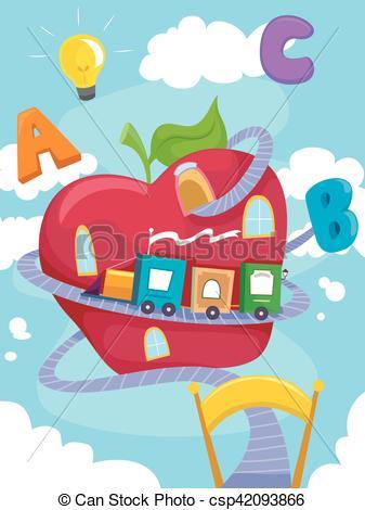 Abc apple clipart. Clip art vector of