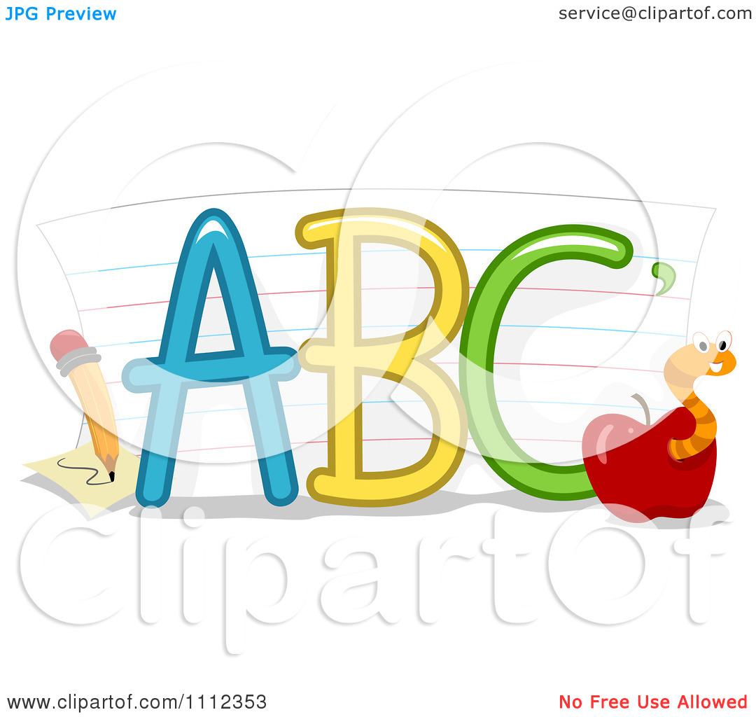 Abc apple clipart png freeuse library Clipart ABC Letters With Paper A Pencil And Worm In An Apple ... png freeuse library