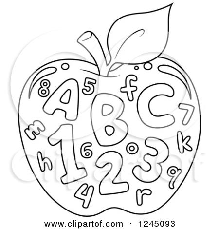 Abc apple clipart. Black and white clipartfest