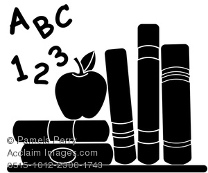 Abc apple clipart vector library Clip Art Silhouette of Abc,123, Educational Books, and an Apple ... vector library