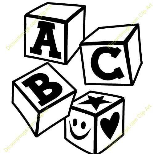 Abc block clipart. Blocks black and white